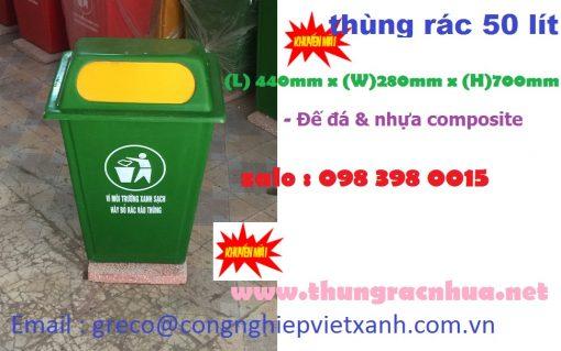 Thùng rác nhựa composite 50 lít