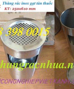 Thùng rác gạt tàn inox 250x610 mm