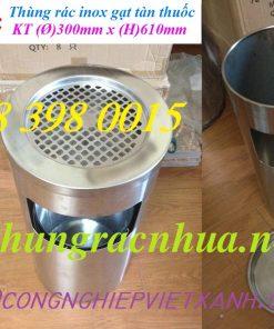 Thùng rác gạt tàn inox 300x610 mm