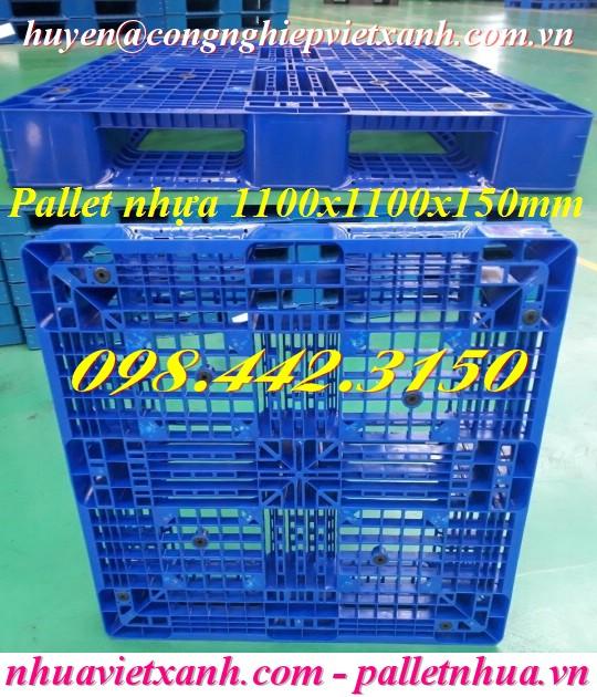 Pallet nhựa 1100x1100x150mm xanh dương