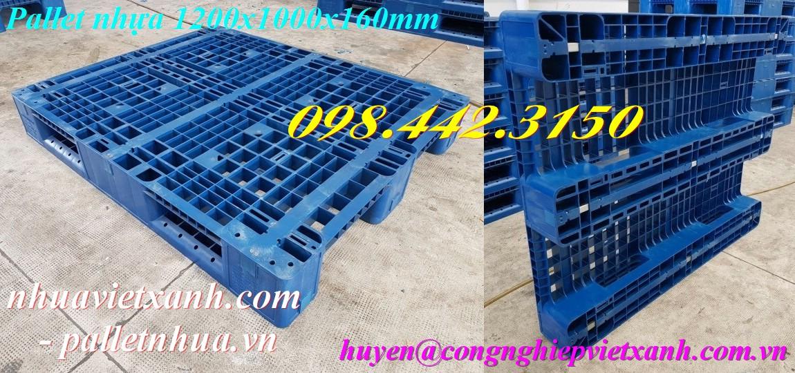 Pallet nhựa 1200x1000x160mm 3 đường thẳng