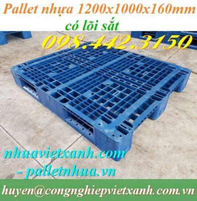 Pallet nhựa 1200x1000x160mm có lõi sắt