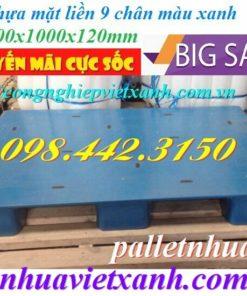 Pallet nhựa mặt liền 1200x1000x120mm