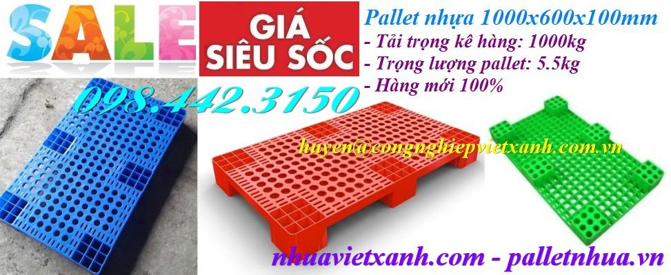 Pallet nhựa kê hàng 1000x600x100mm