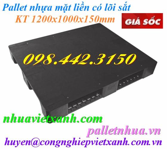 Pallet nhựa 1200x1000x150mm mặt liền màu đen