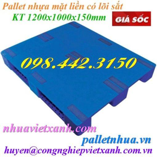 Pallet nhựa mặt liền 1200x1000x150mm xanh có lõi sắt