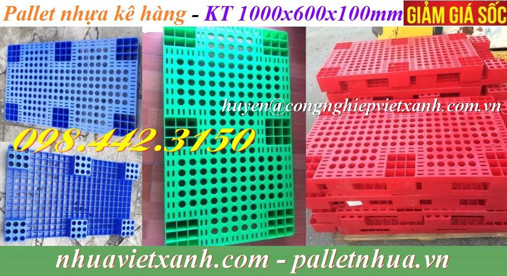 Pallet nhựa PL04LS KT 1000x600x100mm