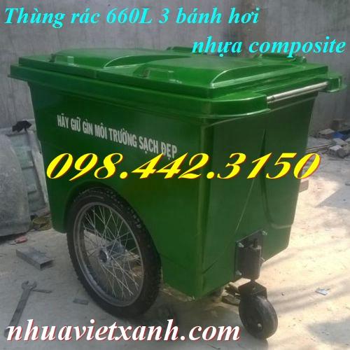 Thùng rác 660 lít nhựa composite 3 bánh hơi