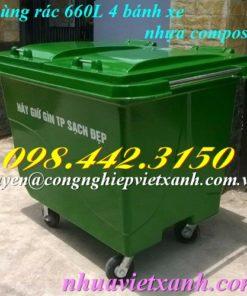 Thùng rác 660 lít nhựa composite 4 bánh xe