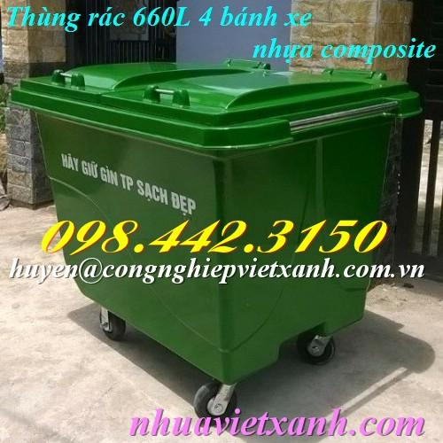 Thùng rác 660 lít nhựa composite 4 bánh đặc
