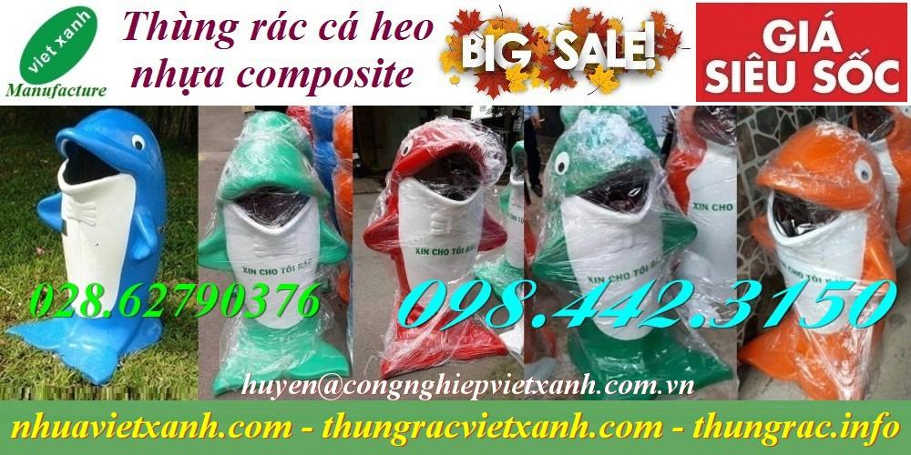 Thùng rác hình cá heo nhựa composite