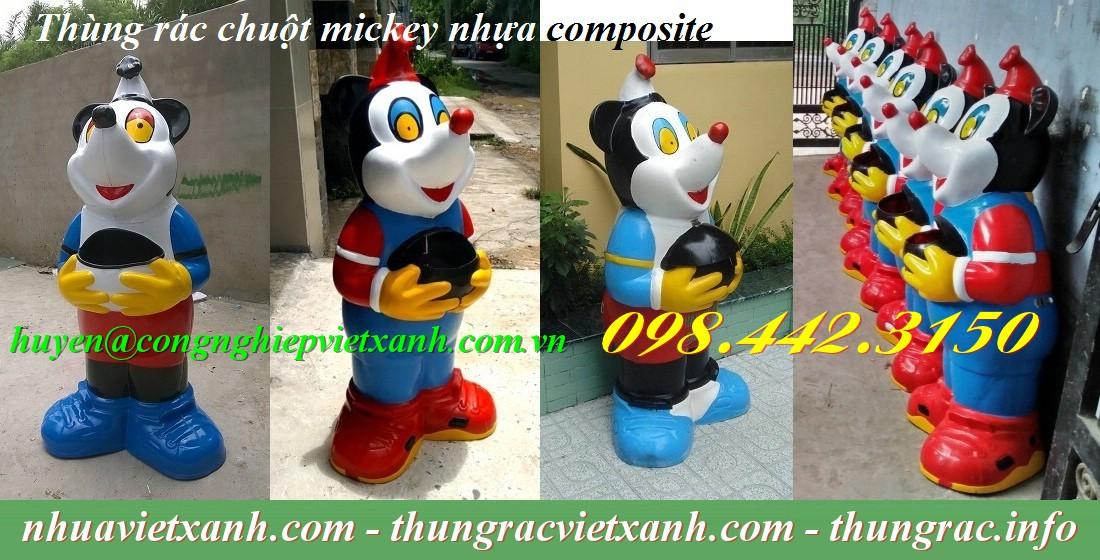 Thùng rác chuột mickey nhựa composite