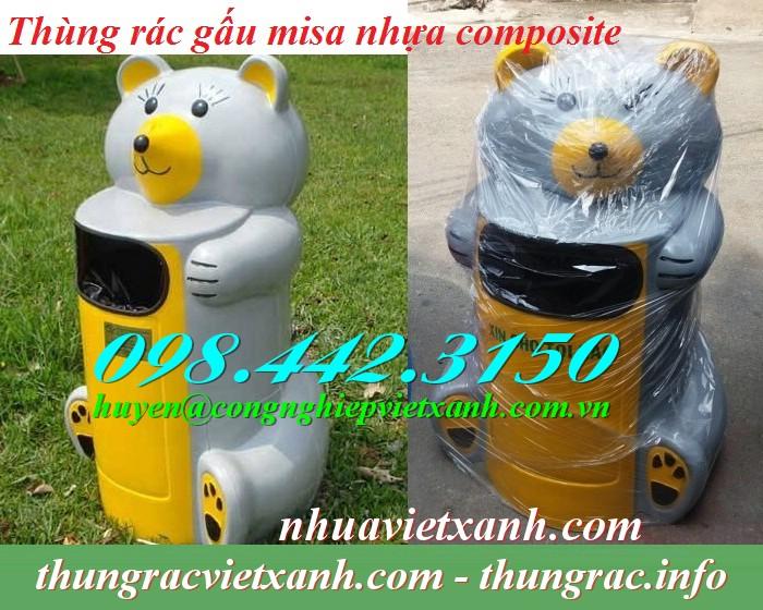 Thùng rác gấu misa nhựa composite