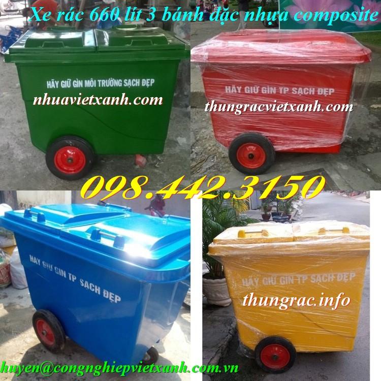 Xe đẩy rác 660 lít 3 bánh đặc nhựa composite