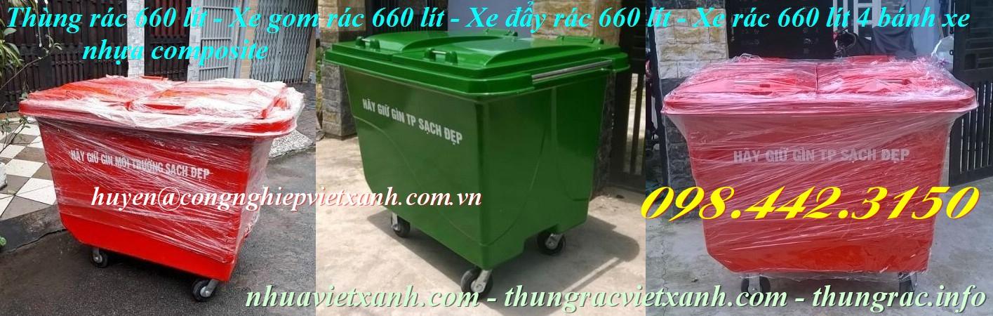 Xe đẩy rác 660 lít 4 bánh xe nhựa composite