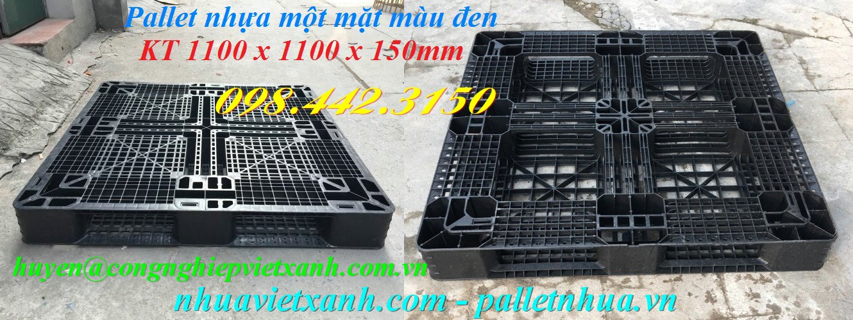 Pallet nhựa 1100x1100x150mm màu đen