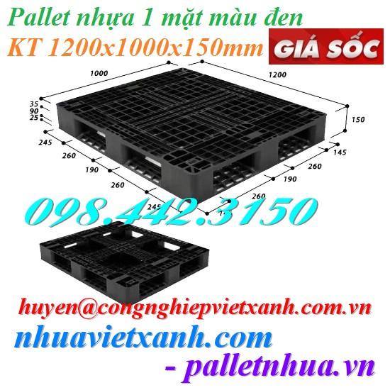 Pallet nhựa 1200x1000x150mm màu đen