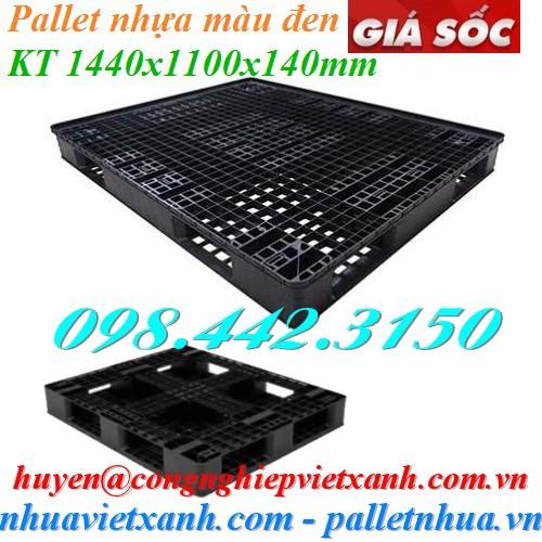 Pallet nhựa 1440x1100x140mm màu đen