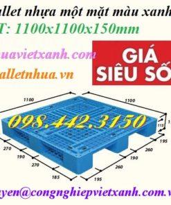 Pallet nhựa 1100x1100x150mm 3 đường thẳng