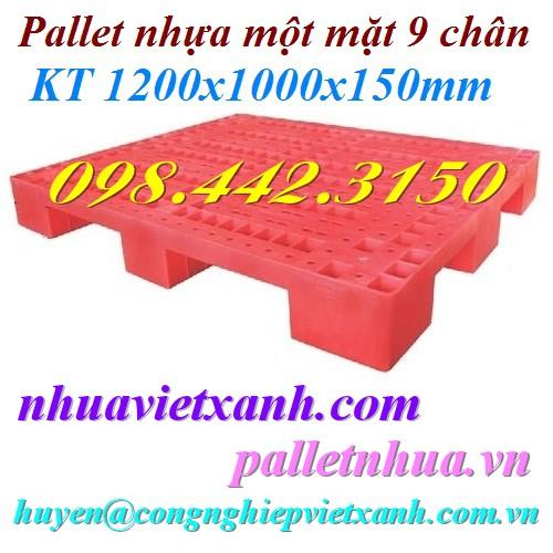 Pallet nhựa 1200x1000x150mm 9 chân PL01LS