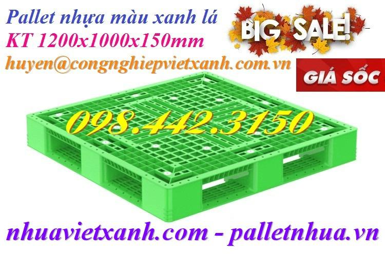 Pallet nhựa 1200x1000x150mm xanh lá