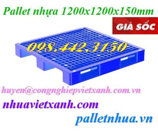 Pallet nhựa 1200x1200x150mm đan thanh