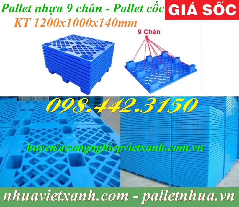 Pallet nhựa 9 chân 1200x1000x140mm màu xanh