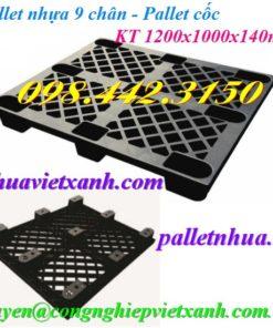 Pallet nhựa 9 chân màu đen
