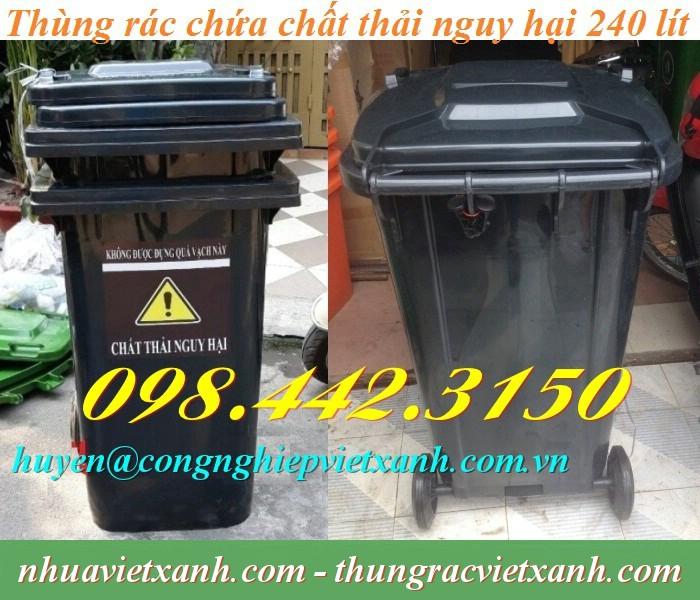 Thùng rác 240 lít màu đen rác thải nguy hại