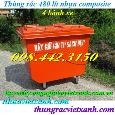 Thùng rác 480 lít nhựa composite 4 bánh xe