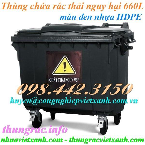 Thùng rác 660 lít màu đen chất thải nguy hại