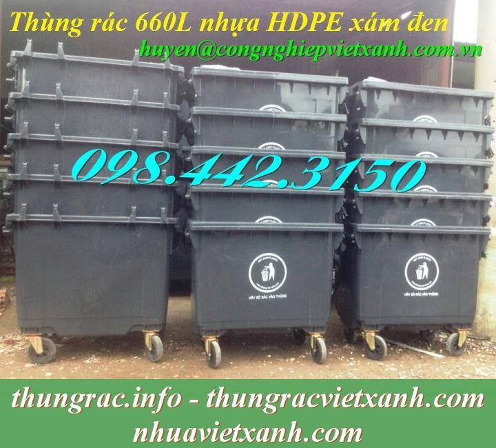 Thùng rác 660 lít màu đen