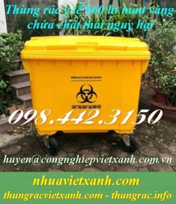 Thùng rác y tế 660 lít màu vàng chất thải nguy hại