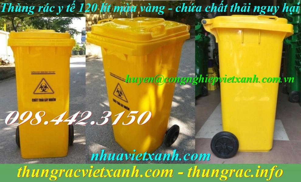 Thùng rác y tế 120 lít màu vàng chứa chất thải nguy hại