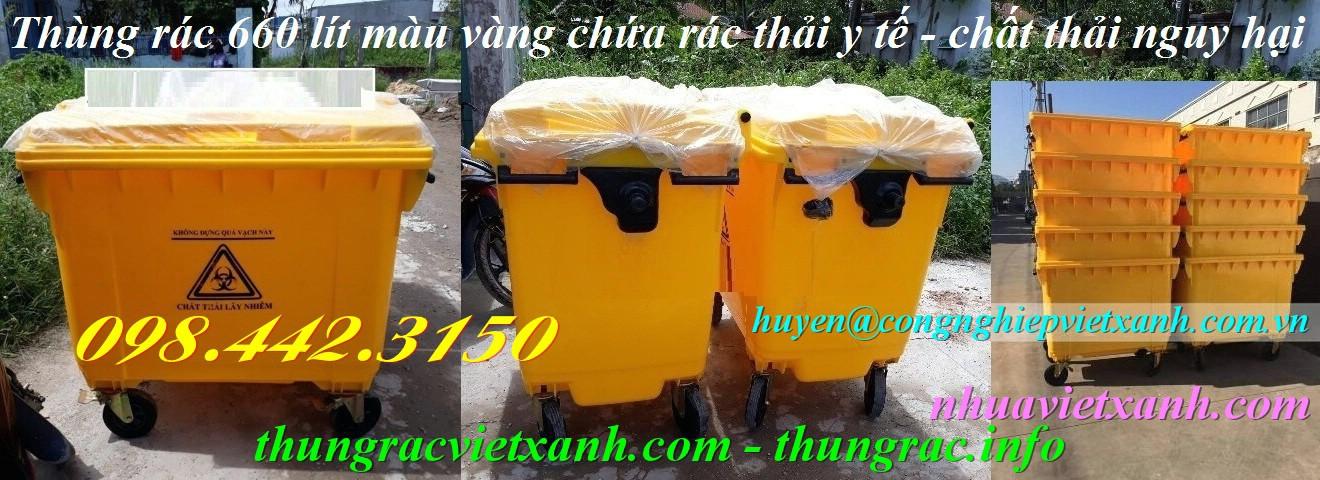 Thùng rác y tế 660 lít màu vàng chứa chất thải nguy hại