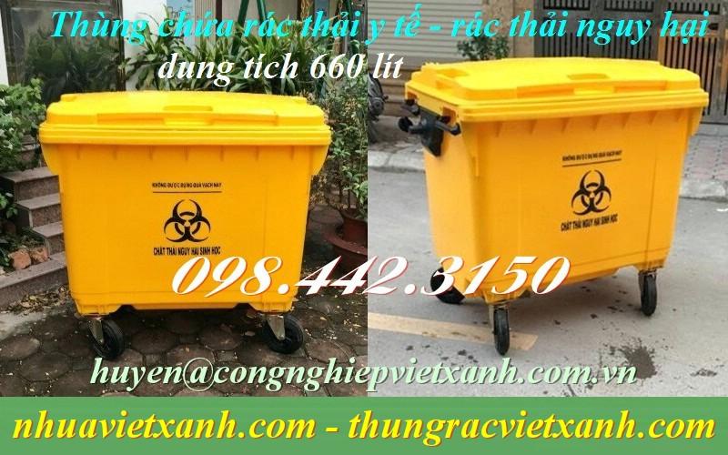 Xe gom rác y tế 660 lít