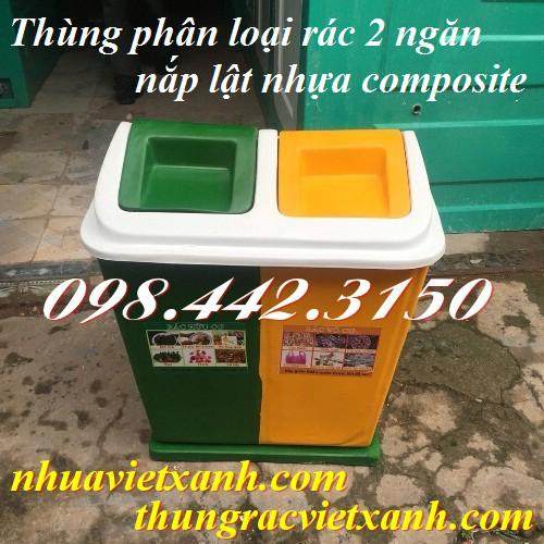 Thùng phân loại rác 2 ngăn nắp lật nhựa composite xanh lá - vàng