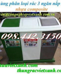 Thùng phân loại rác 3 ngăn nắp lật nhựa composite xanh - trắng - xám
