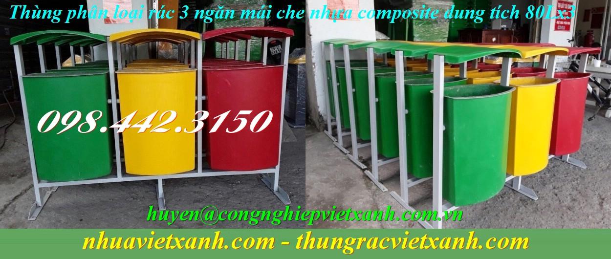 Thùng phân loại rác 3 ngăn mái che nhựa composite