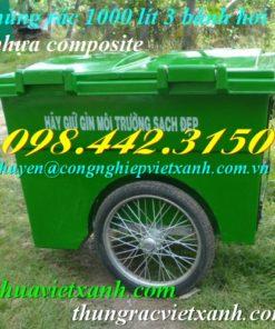 Thùng rác 1000 lít nhựa composite 3 bánh hơi
