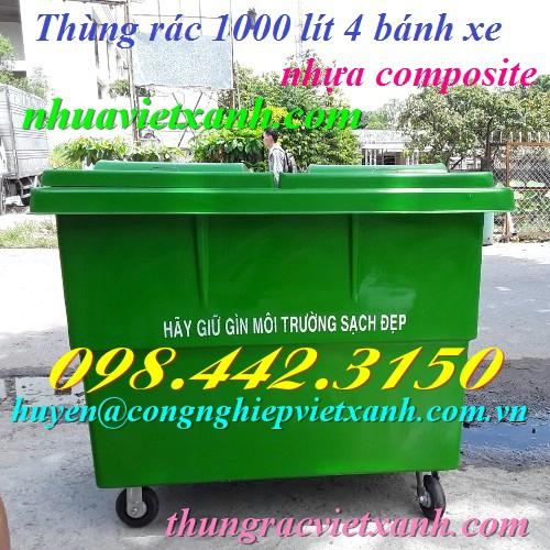 Thùng rác 1000 lít nhựa composite 4 bánh xe