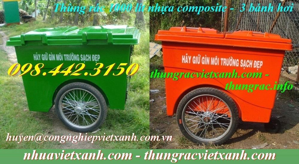 Thùng rác 1000L 3 bánh hơi nhựa composite