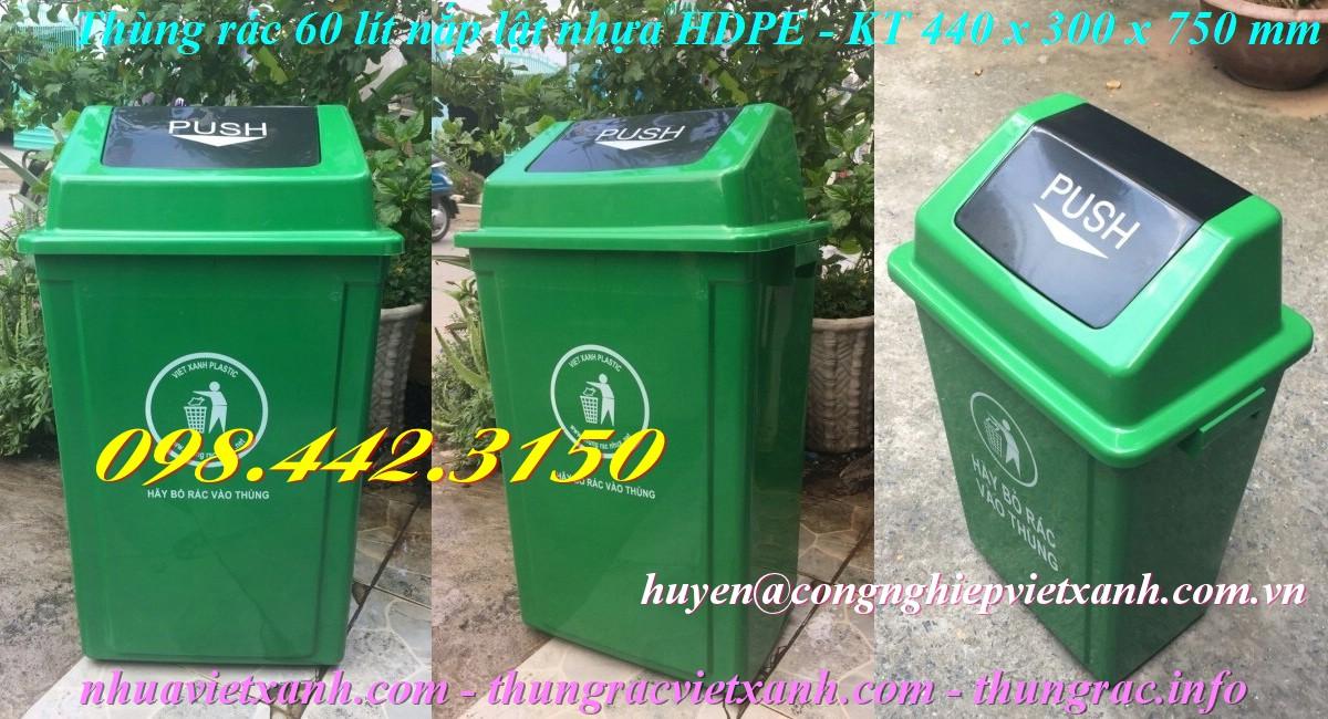 Thùng rác 60 lít nắp lật nhựa HDPE