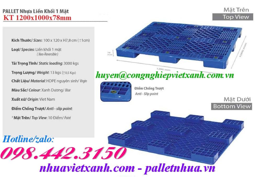 Pallet nhựa kê hàng 1200x1000x78mm PL496T