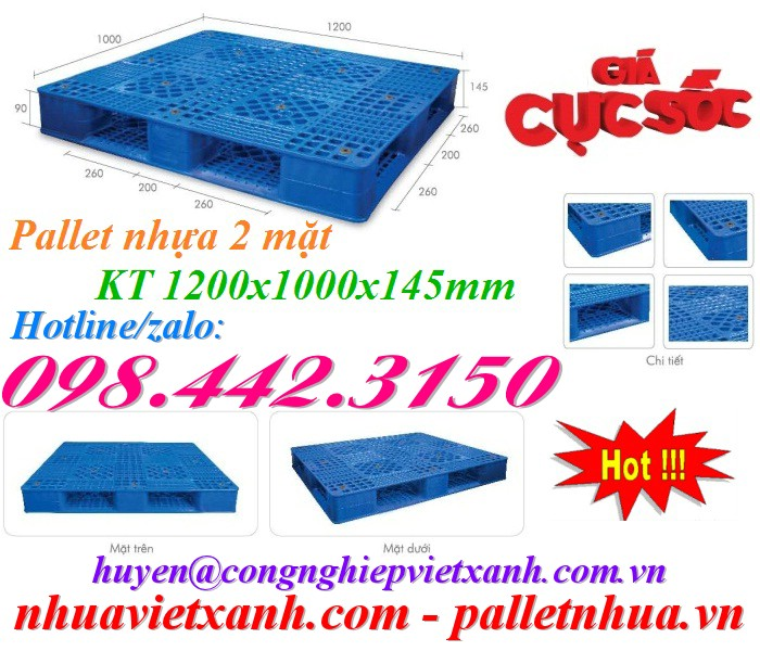 Pallet nhựa 2 mặt 1200x1000x145mm PL02HG