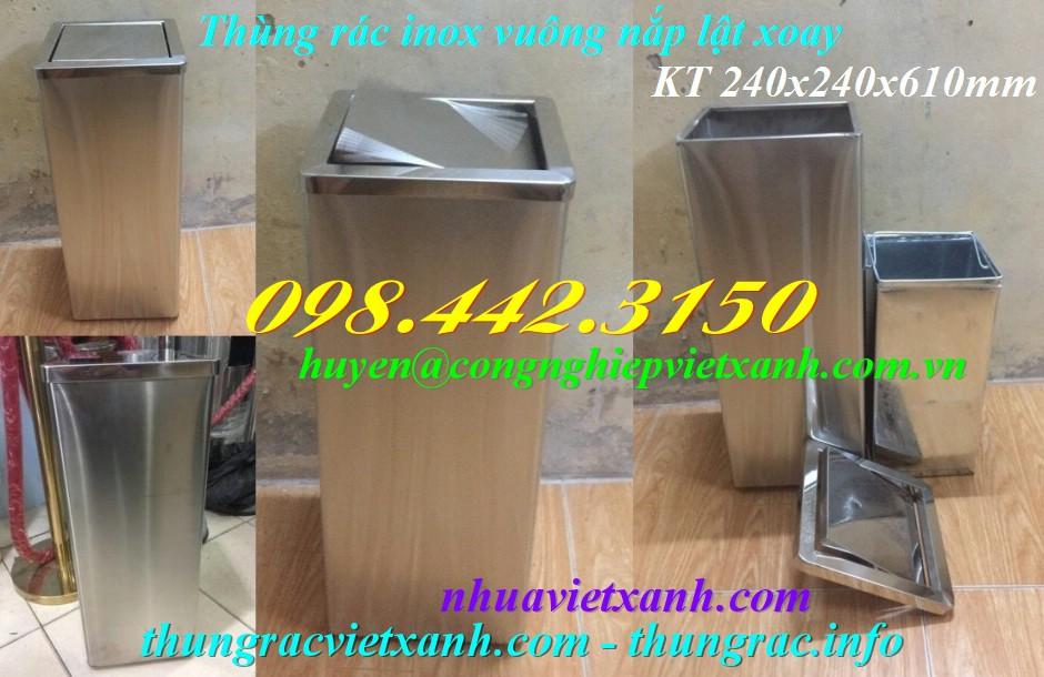 Thùng rác inox vuông nắp lật 240x240x610mm