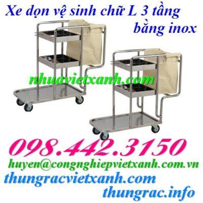 Xe dọn vệ sinh chữ L 3 tầng inox