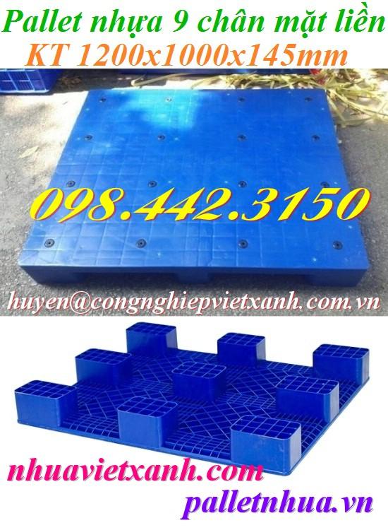 Pallet nhựa 9 chân mặt liền 1200x1000x145mm PL09LS
