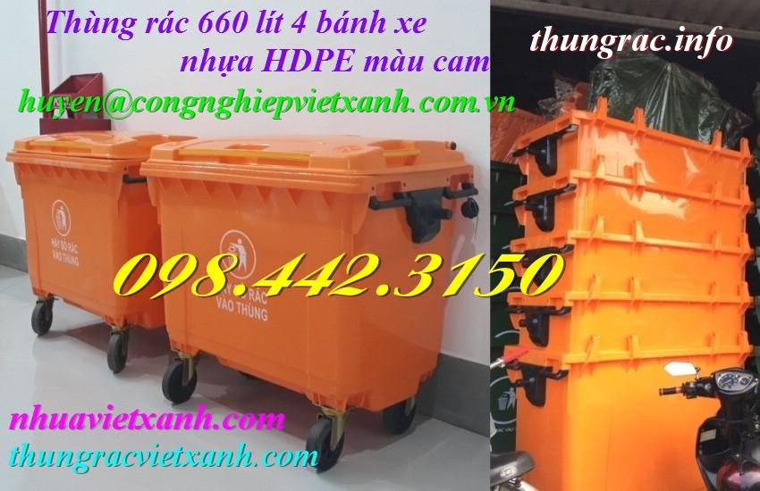 Thùng rác 660 lít 4 bánh xe nhựa HDPE màu cam