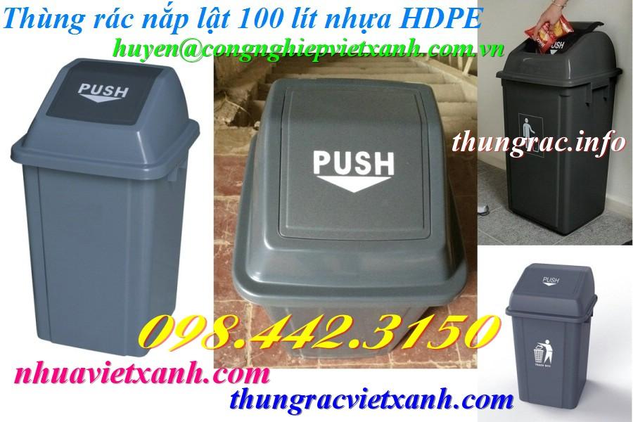 Thùng rác 100 lít nắp lật nhựa HDPE